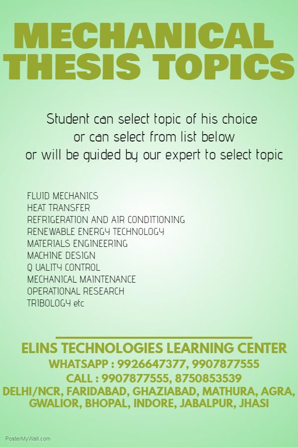 m tech thesis topics